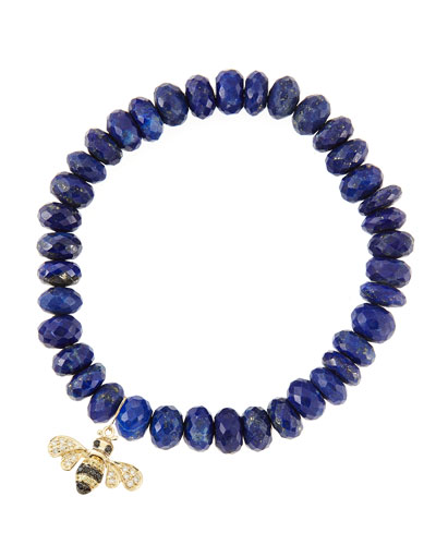 8mm Faceted Lapis Beaded Bracelet with 14k Gold/Diamond Small Bee Charm ...