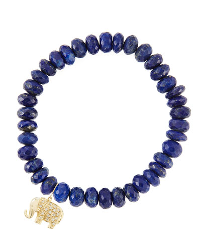 8mm Faceted Lapis Beaded Bracelet with 14k Gold/Diamond Small Elephant ...