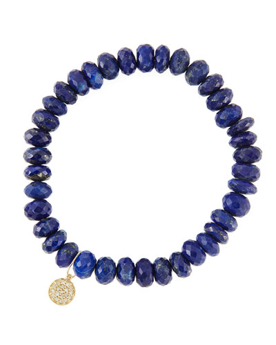 8mm Faceted Lapis Beaded Bracelet with 14k Yellow Gold/Diamond Small Disc ...