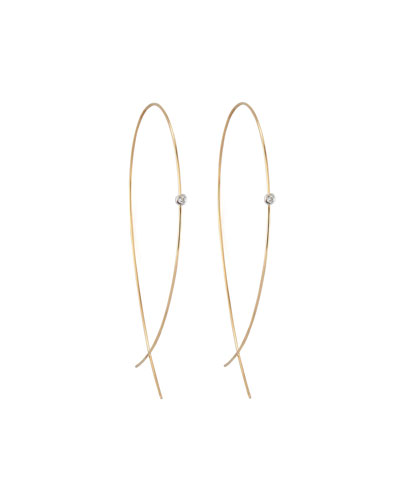 Large Upside Down Hoops with Diamonds