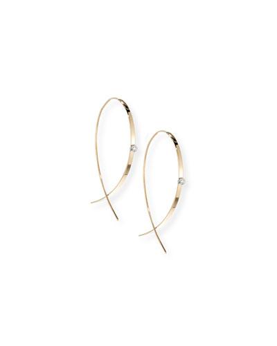 Small Flat Diamond Hoop Earrings