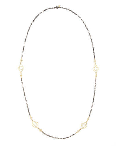 Long Gold-Station Cable-Chain Necklace, 37