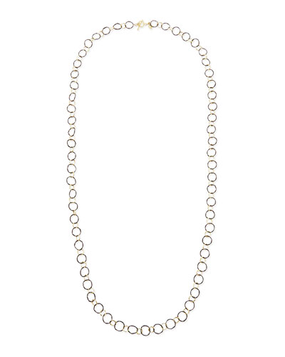 Midnight Silver & 18k Yellow Gold Link Necklace, 34""