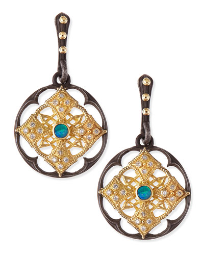 Midnight Scalloped Shield Earrings with Opal & Diamond
