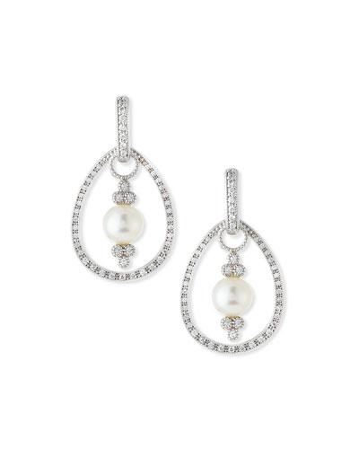 Classic White Gold Pave Diamond Teardrop Earring Frames