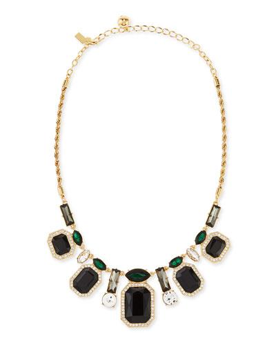 art deco crystal necklace, black/green