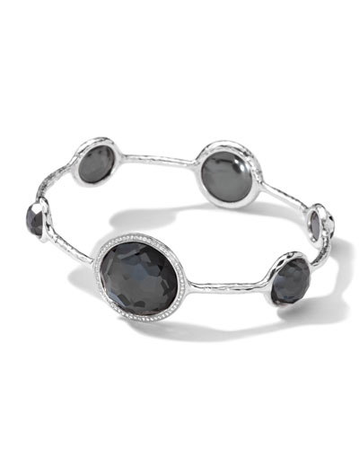 Sterling Silver Stella Bangle, Hematite Doublet & Diamonds