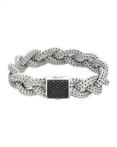 Classic Chain Medium Braided Silver Bracelet, Black Sapphire