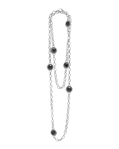 Silver Maya Black Onyx Station Necklace, 36""