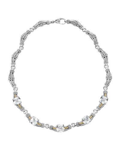 White Topaz Prism Caviar Necklace