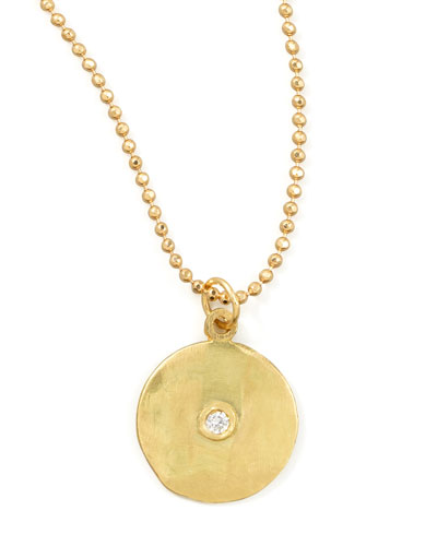 18k Yellow Gold Diamond Disc Necklace
