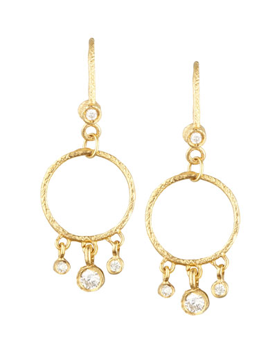18k Yellow Diamond-Fringed Classic Round Earrings