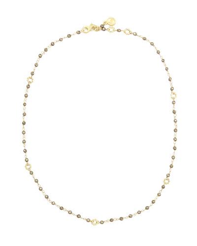18k Gold Dark Pyrite Delicate Bead Necklace