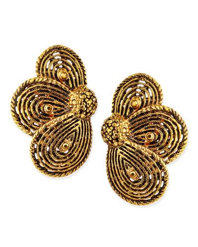 Golden Layered Flower Clip-On Earrings