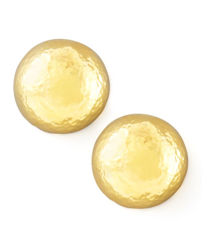 Hammered Gold-Plate Dome Clip Earrings