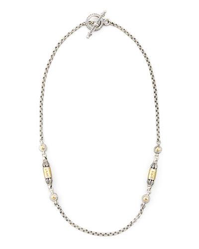 Gold Bullet-Station Necklace, 18