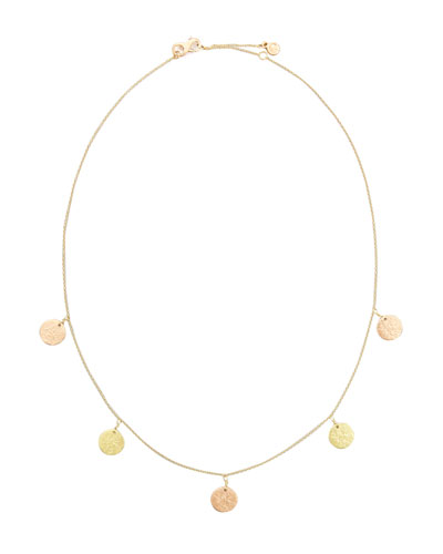 Mackenzie 18k Mixed Gold Coin Station Necklace