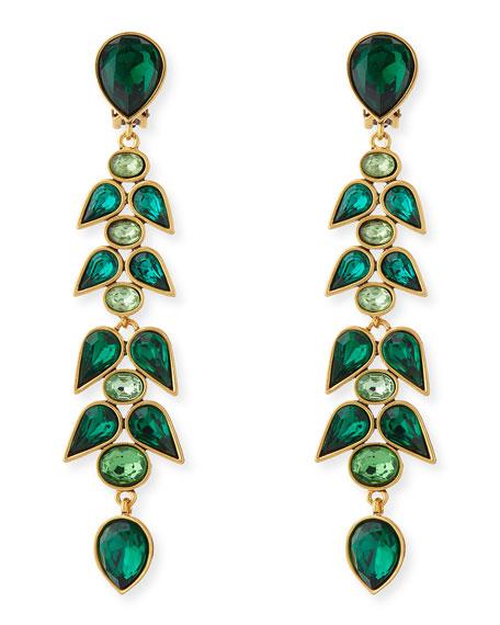 42dece588 Oscar de la Renta Wisteria Crystal Drop Earrings, Emerald Green
