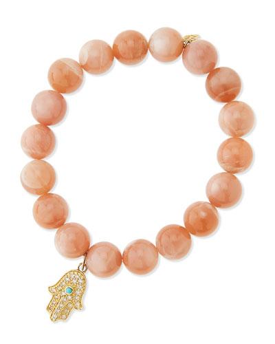 Rainbow Moonstone Beaded Bracelet with Diamond Hamsa