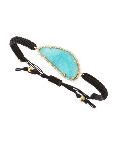 G Pave-Trim Mint Crystal Braided Cord Bracelet, Black