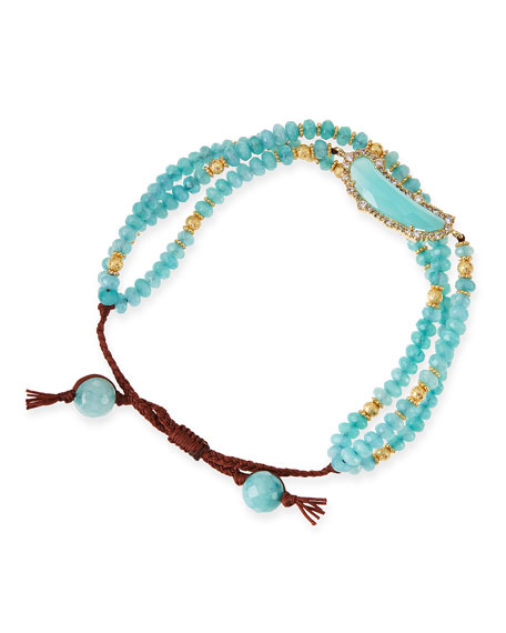Multi Strand Aqua Colored Agate Bracelet