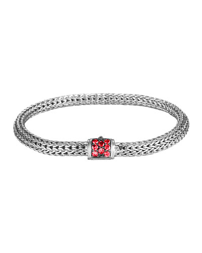 Classic Chain 5mm Extra-Small Braided Silver Bracelet, Red Sapphire
