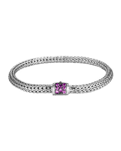 Classic Chain 5mm Extra-Small Braided Silver Bracelet, Amethyst