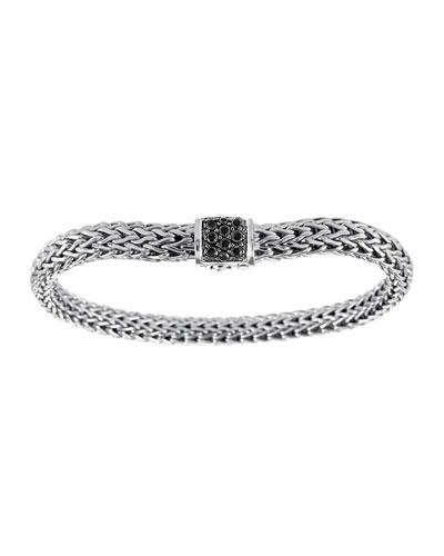 Classic Chain 6.5mm Small Braided Silver Bracelet, Black Sapphire