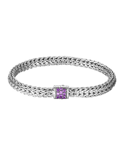 Classic Chain 6.5mm Small Braided Silver Bracelet, Amethyst
