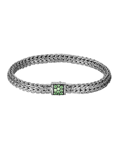 Classic Chain 6.5mm Small Braided Silver Bracelet, Tsavorite
