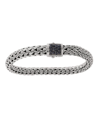 Classic Chain 7.5mm Medium Braided Silver Bracelet, Black Sapphire