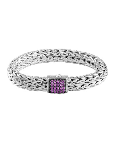 Classic Chain 11mm Large Braided Silver Bracelet, Amethyst