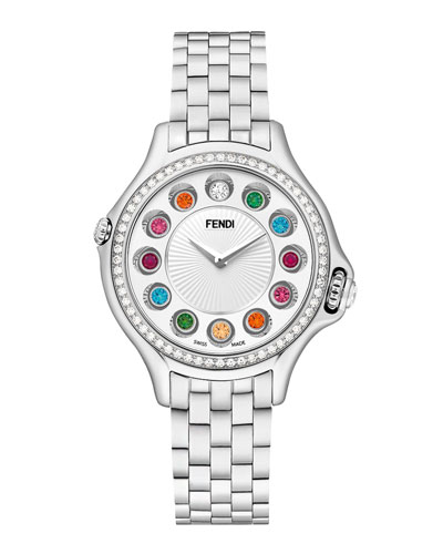 Crazy Carats Stainless Steel Topaz Watch with White Diamond Bezel, 2.07 TCW ...