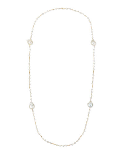 "Keshi Pearl Necklace, 42""L"