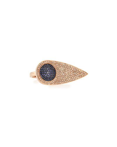 Sideways Teardrop Eye Ring with Diamonds & Sapphires