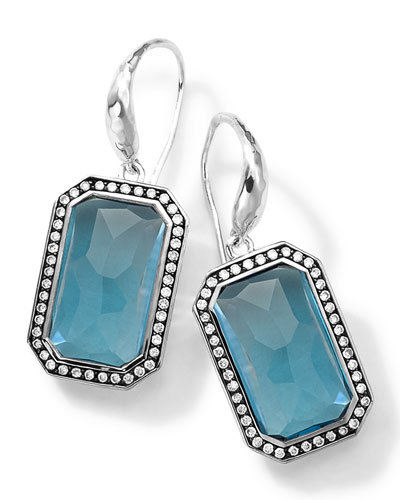 Sterling Silver Stella London Blue Topaz Earrings with Diamonds