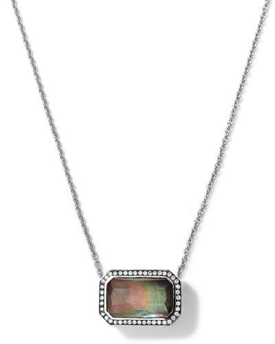 Silver Stella Rectangle Black Shell Pendant Necklace with Diamonds