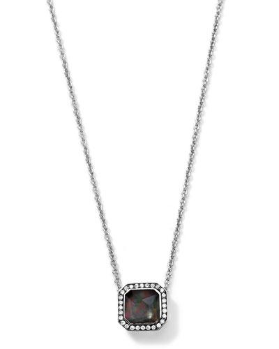Silver Stella Black Shell Pendant Necklace with Diamonds