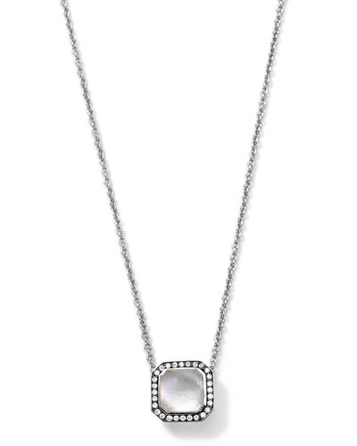 Silver Stella Mother-of-Pearl Pendant Necklace with Diamonds