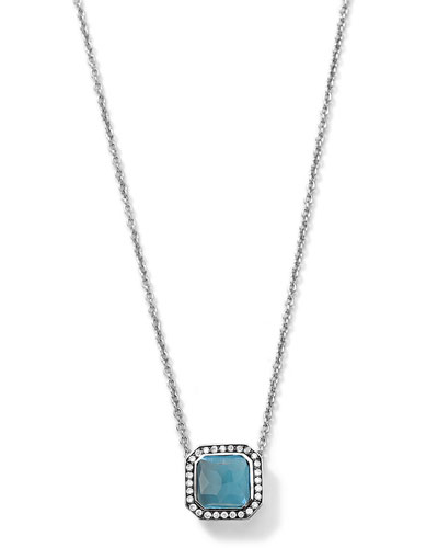 Silver Stella London Blue Topaz Pendant Necklace with Diamonds