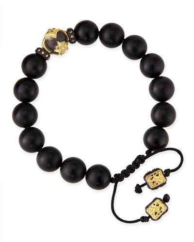 Onyx Bead Bracelet with 18k Gold Detail