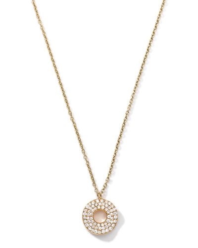18k Gold Mini Stardust Wavy Disc Drop Necklace with Diamonds (0.22 ctw)