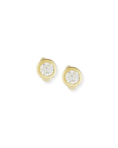 18K Yellow Gold Diamond Stud Earrings