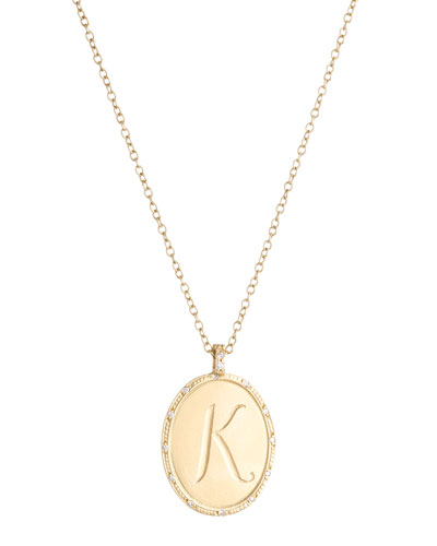 18k Yellow Gold Oval Initial Pendant Necklace with Diamonds