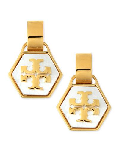 Pearlescent Geo Logo Earrings
