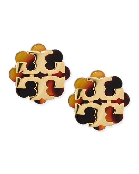 Resin Flower Logo Stud Earrings Havana Gold