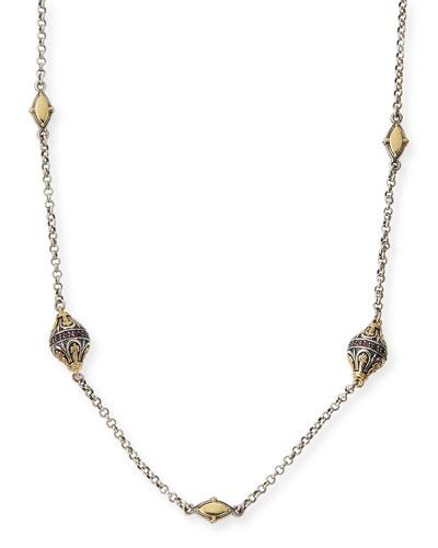 Sterling Silver, 18k Gold & Rhodolite Station Necklace, 36