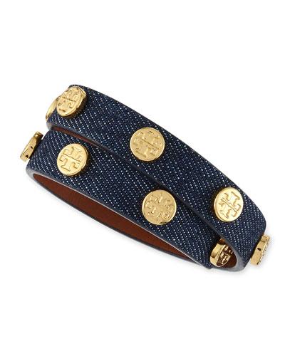 Logo-Studded Denim Wrap Bracelet, Indigo