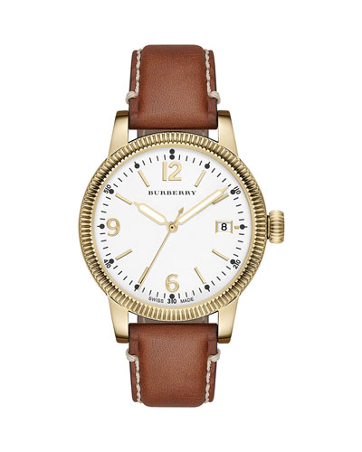 38mm Yellow Golden Watch with Tan Leather Strap
