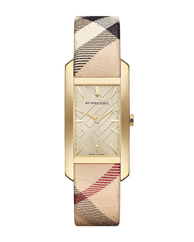 25mm Yellow Golden Rectangle Watch with Haymarket Check Strap